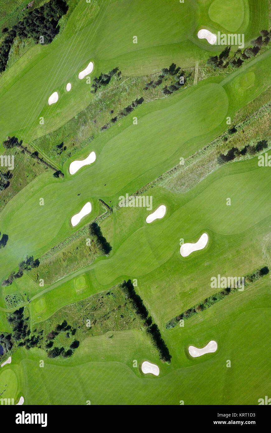 Golfplatz, Golf-Anlage aus der Vogel-Perspektive. Sylt, North Sea - Stock Image