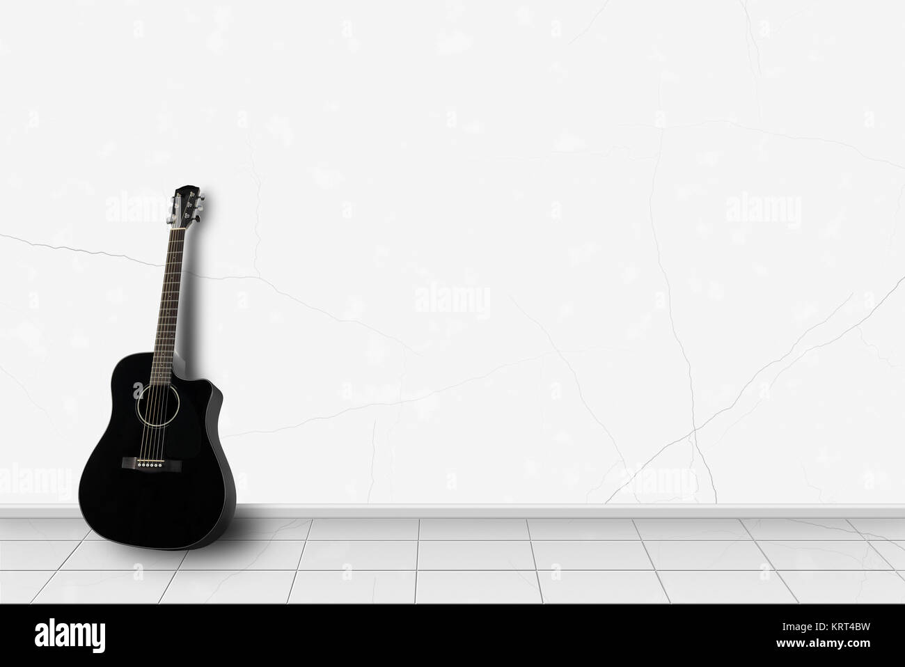 Home Interior Black Acoustic Guitar In Front On A White Wall Stock Photo Alamy