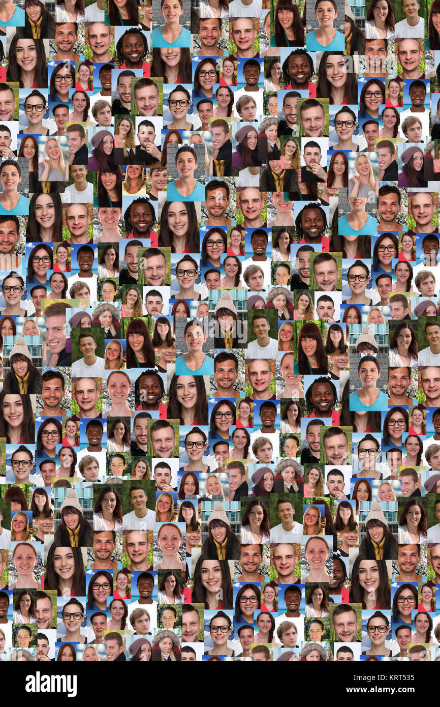 collage people young people background laughing big group - Stock Image