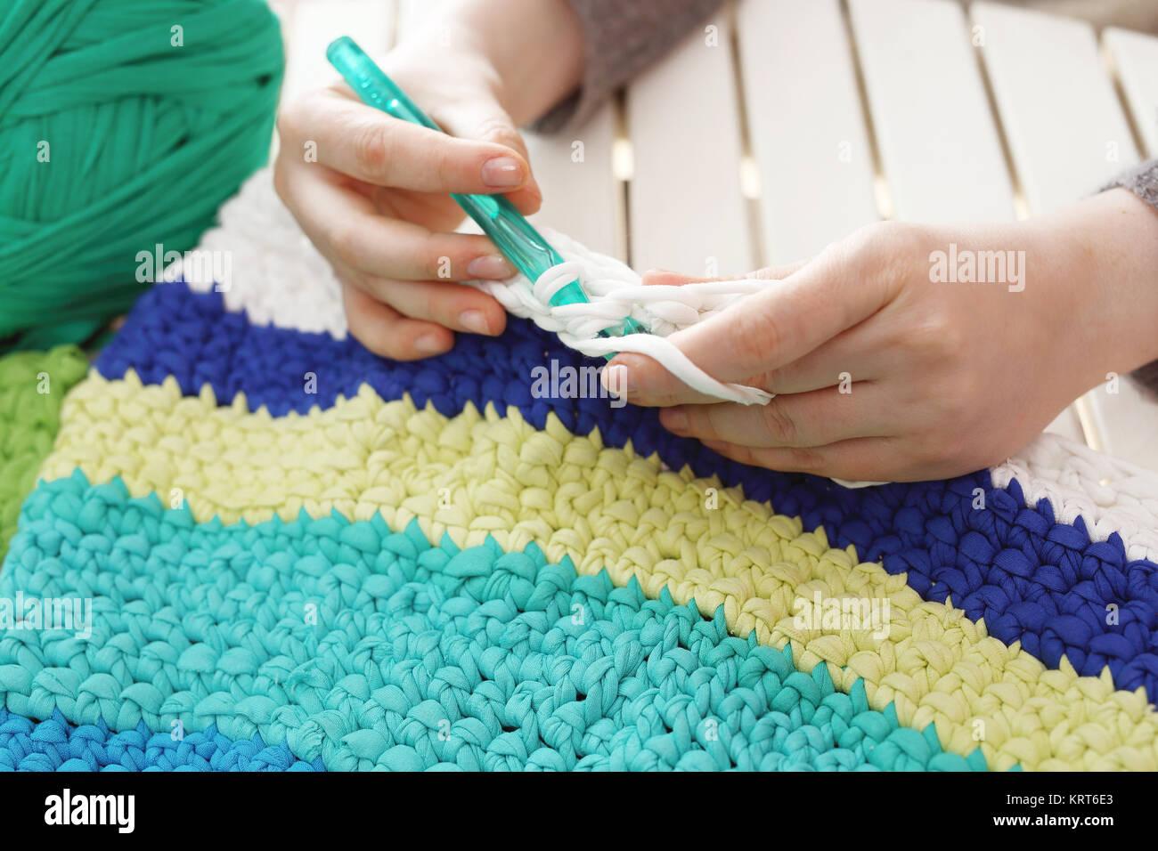 needlework. knitting crochet. - Stock Image