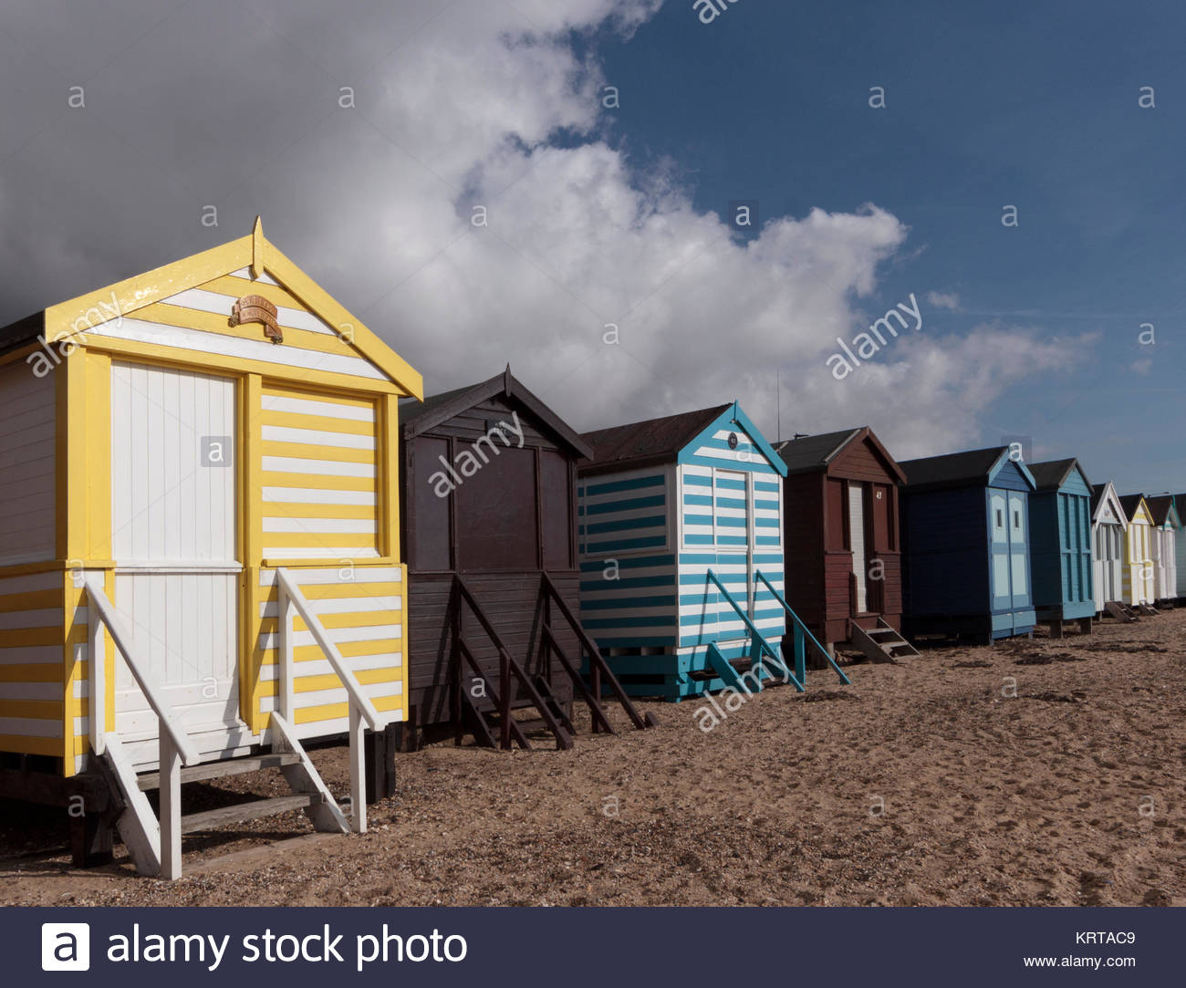 A row of beach huts in Thorpe Bay, Southend-On-Sea. Stock Photo