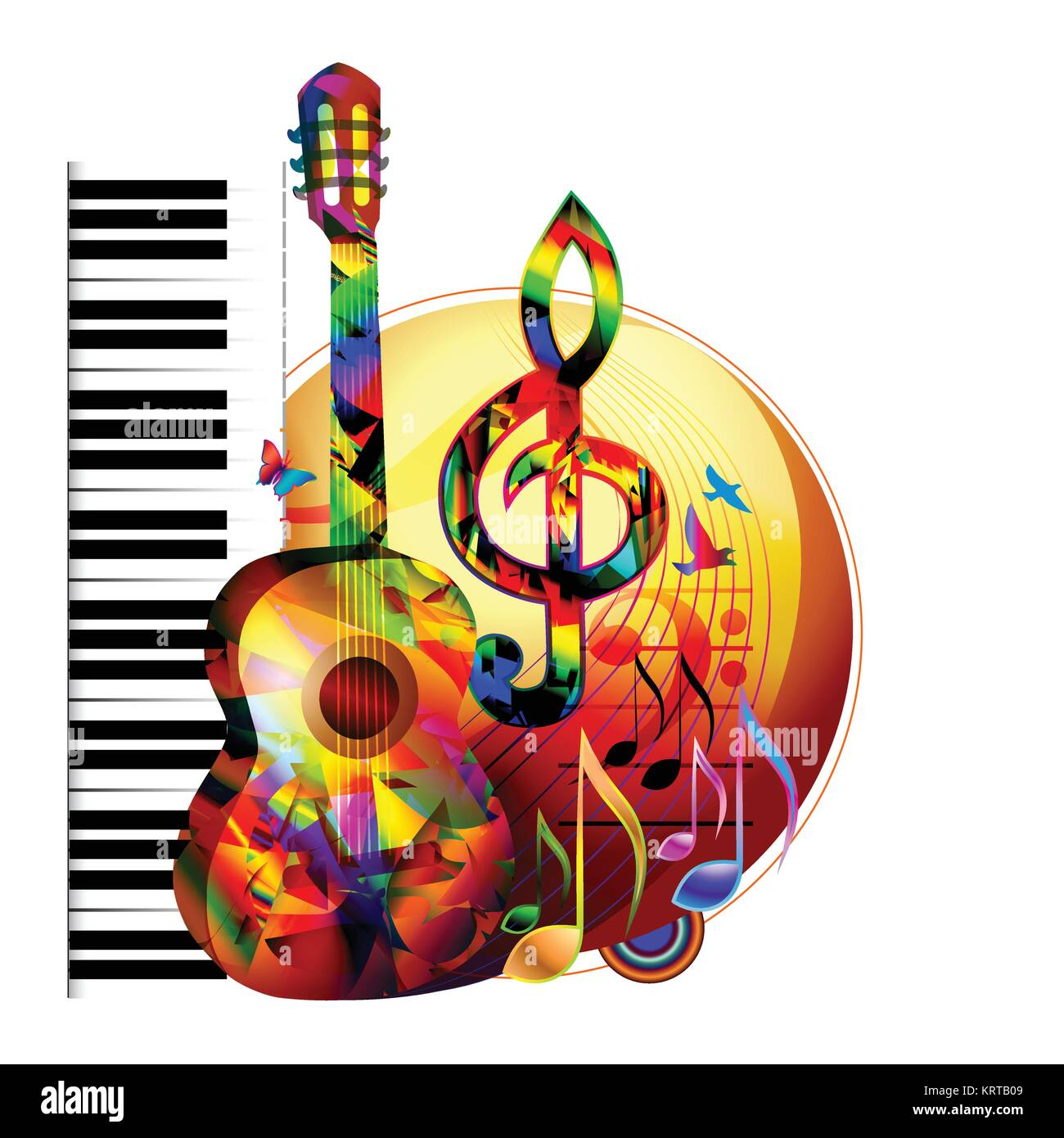 Colorful music background with guitar, piano keyboard, birds and music notes Stock Vector