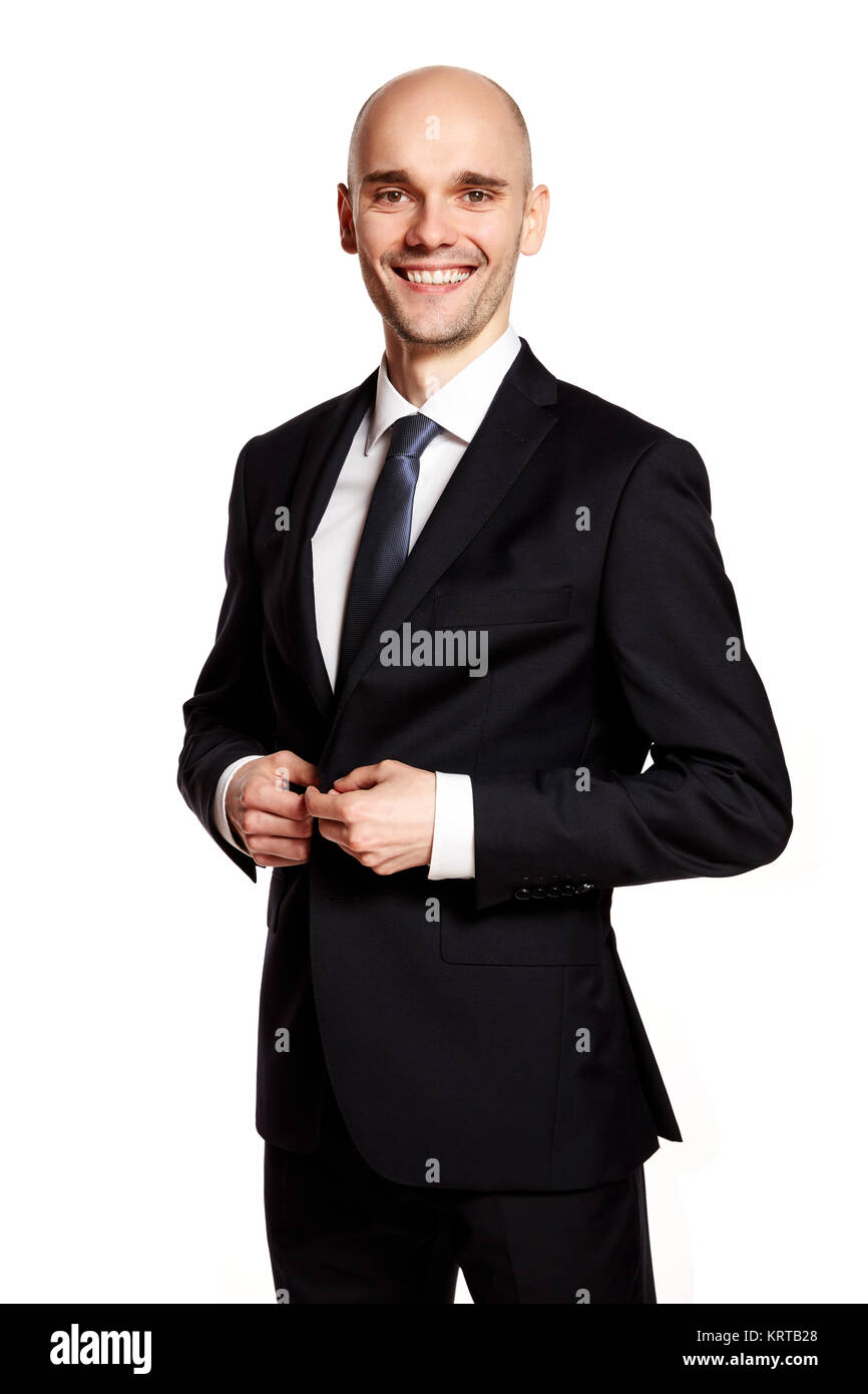 Man in Black Suit Smiling to You - Stock Image