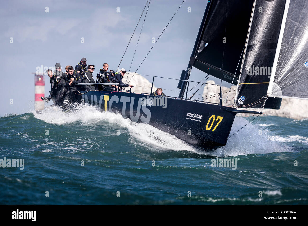 Sir Keith Mills' Invictus at The Needles with Prince Harry on board during the Round the Island Race. Isle of - Stock Image