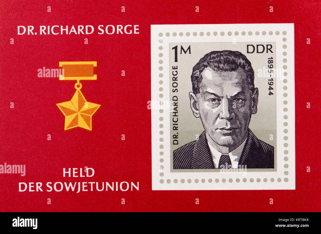 East German (DDR) postage stamp (1976) on a mini sheet: Richard Sorge (1895 – 1944) Soviet military intelligence - Stock Image