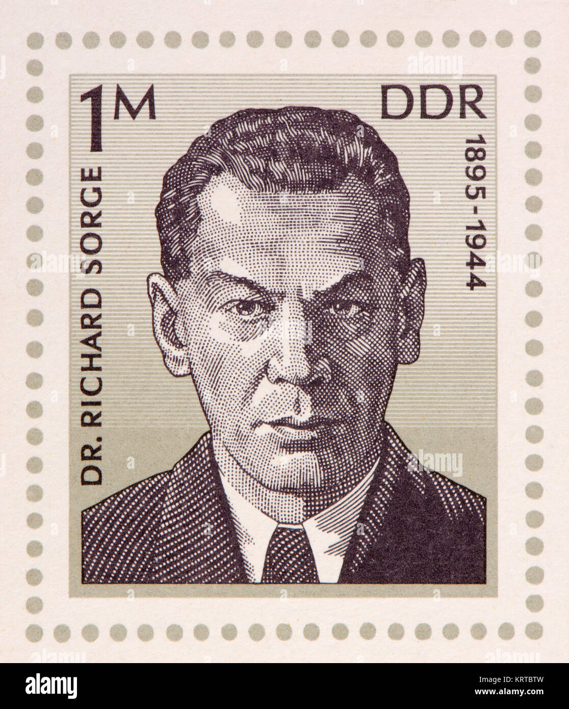 East German (DDR) postage stamp (1976) on a minisheet: Richard Sorge (1895 – 1944) Soviet military intelligence - Stock Image