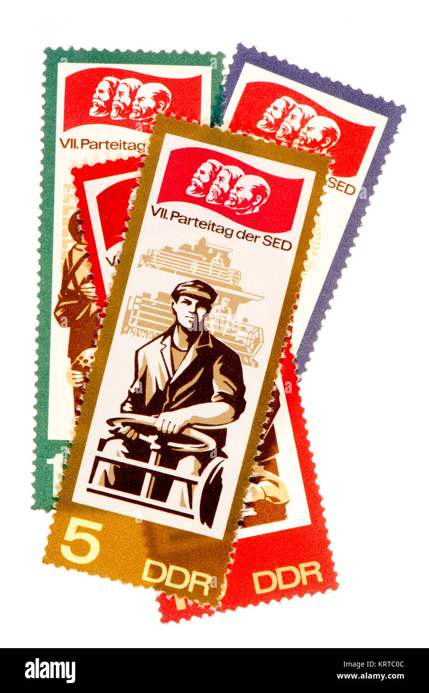 East German (DDR) postage stamps (1967): VII Parteitag der SED / 7th Communist Party conference, 1967 - Stock Image