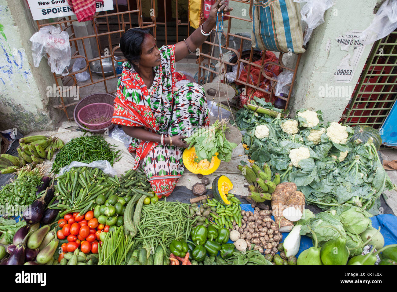 Vegetable seller in the market in the Garia district of Kolkata, India - Stock Image
