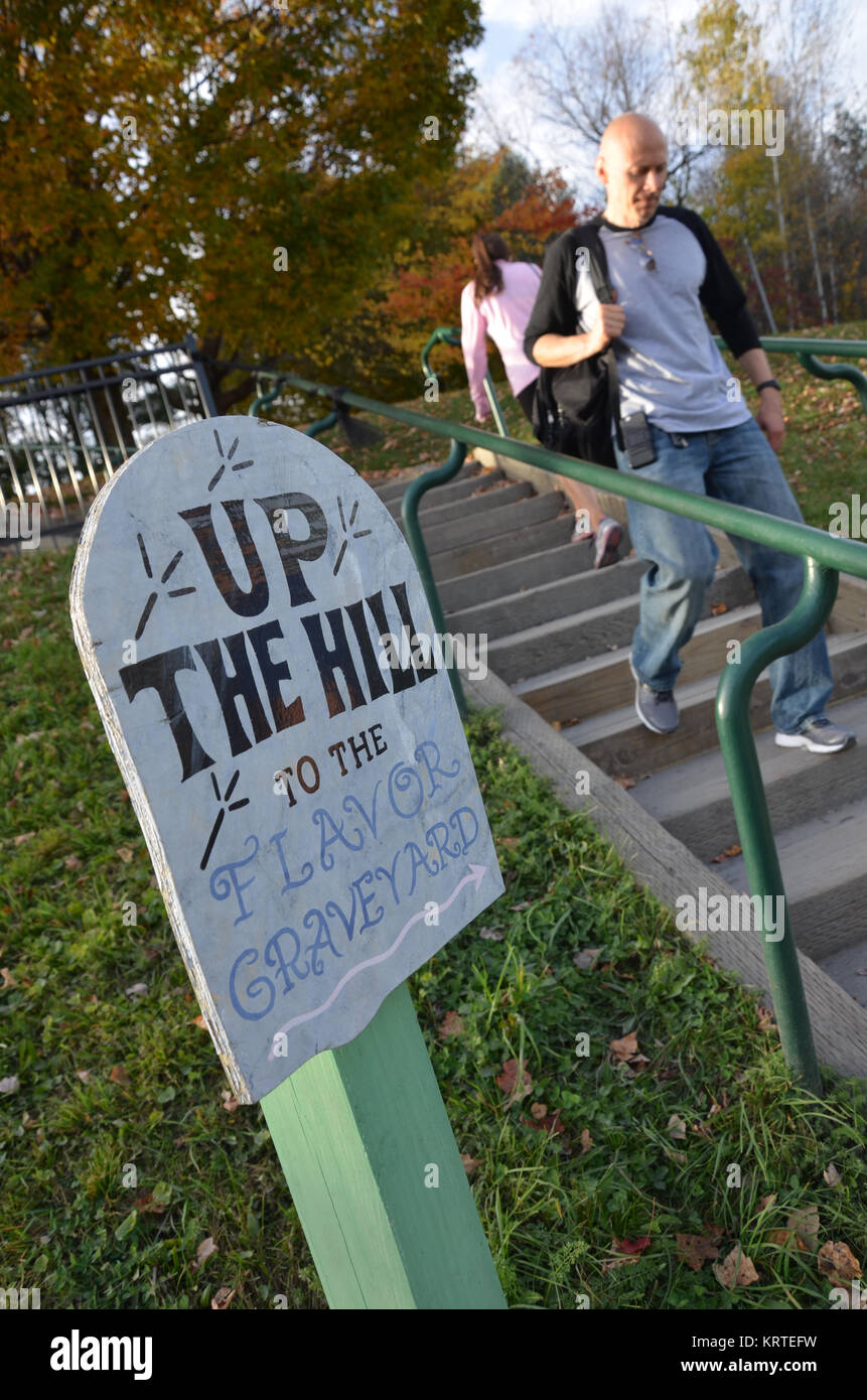 Steps to The Flavor Graveyard at Ben and Jerry's ice cream factory in Waterbury, Vermont USA - Stock Image