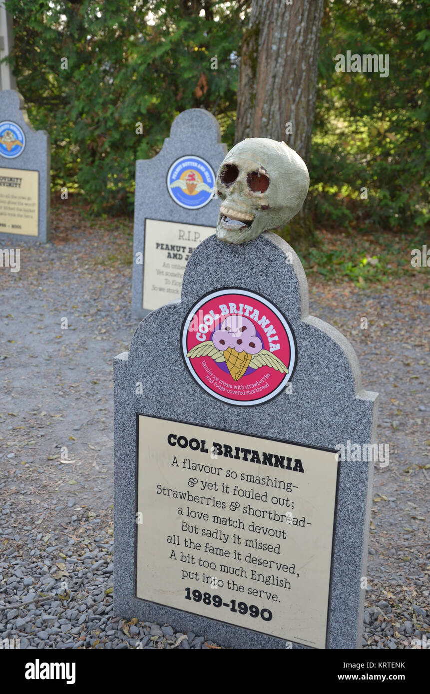 The Flavor Graveyard at Ben and Jerry's ice cream factory in Waterbury, Vermont USA Stock Photo