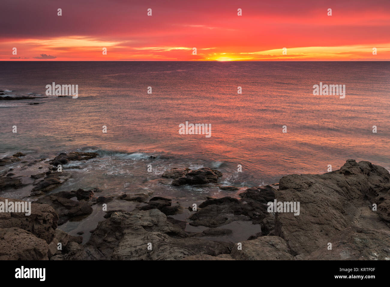 Sunrise on the coast of Escullos. Natural Park Cabo de Gata. Spain. Stock Photo
