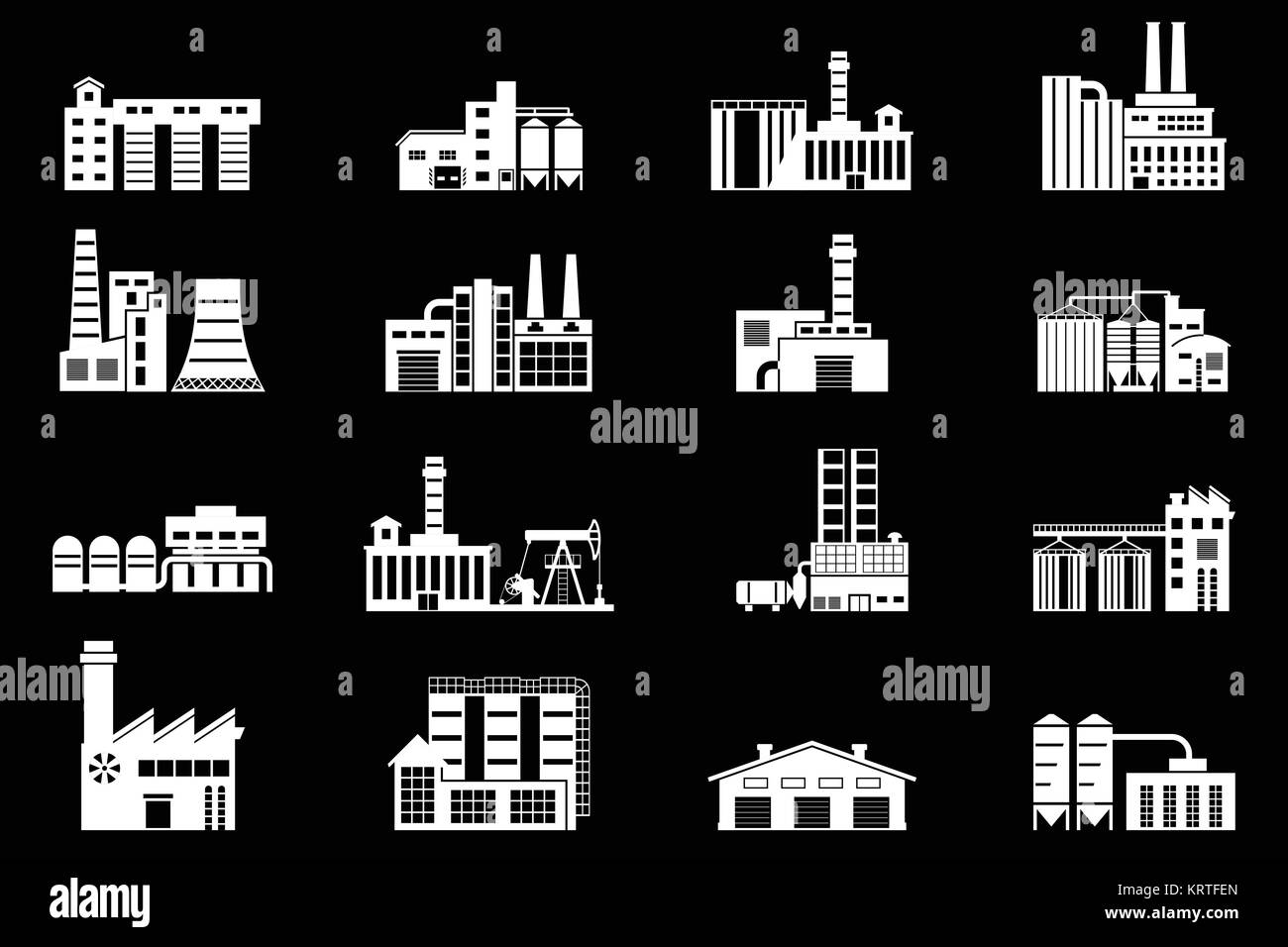Set of industry manufactory building icons. Plant and factory, power and smoke, oil and energy, nuclear manufacturing - Stock Image