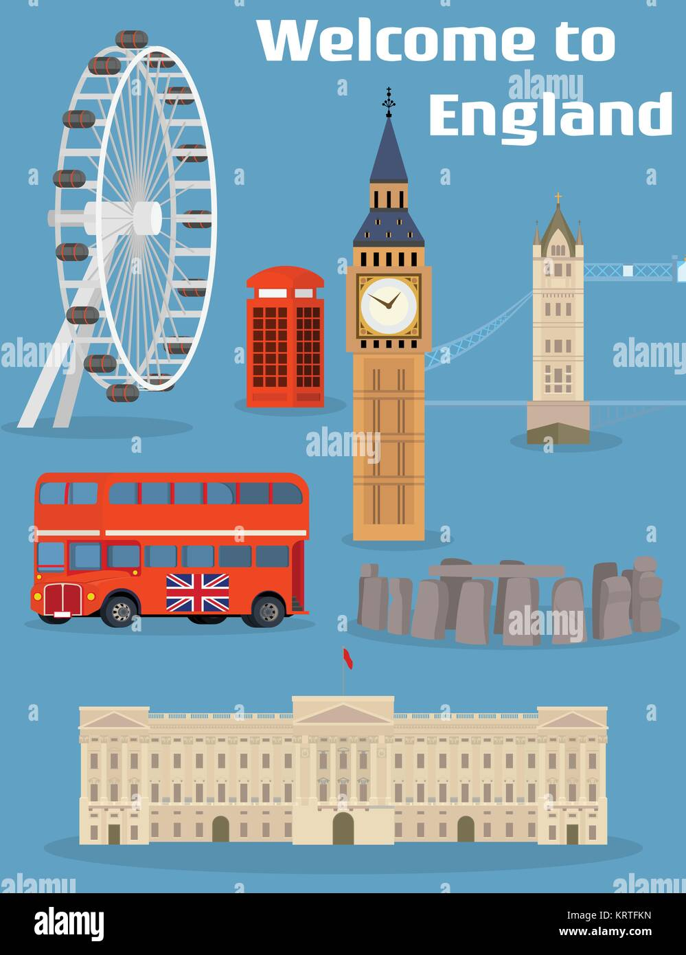 Welcome to England - Vector set of the London famous place and landmark with Tower Bridge, Big Ben, London Eye, - Stock Vector