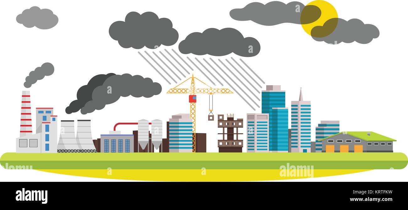 Flat city and industrial landscape. Environmental pollution the mills and factories located in the city. Vector - Stock Vector