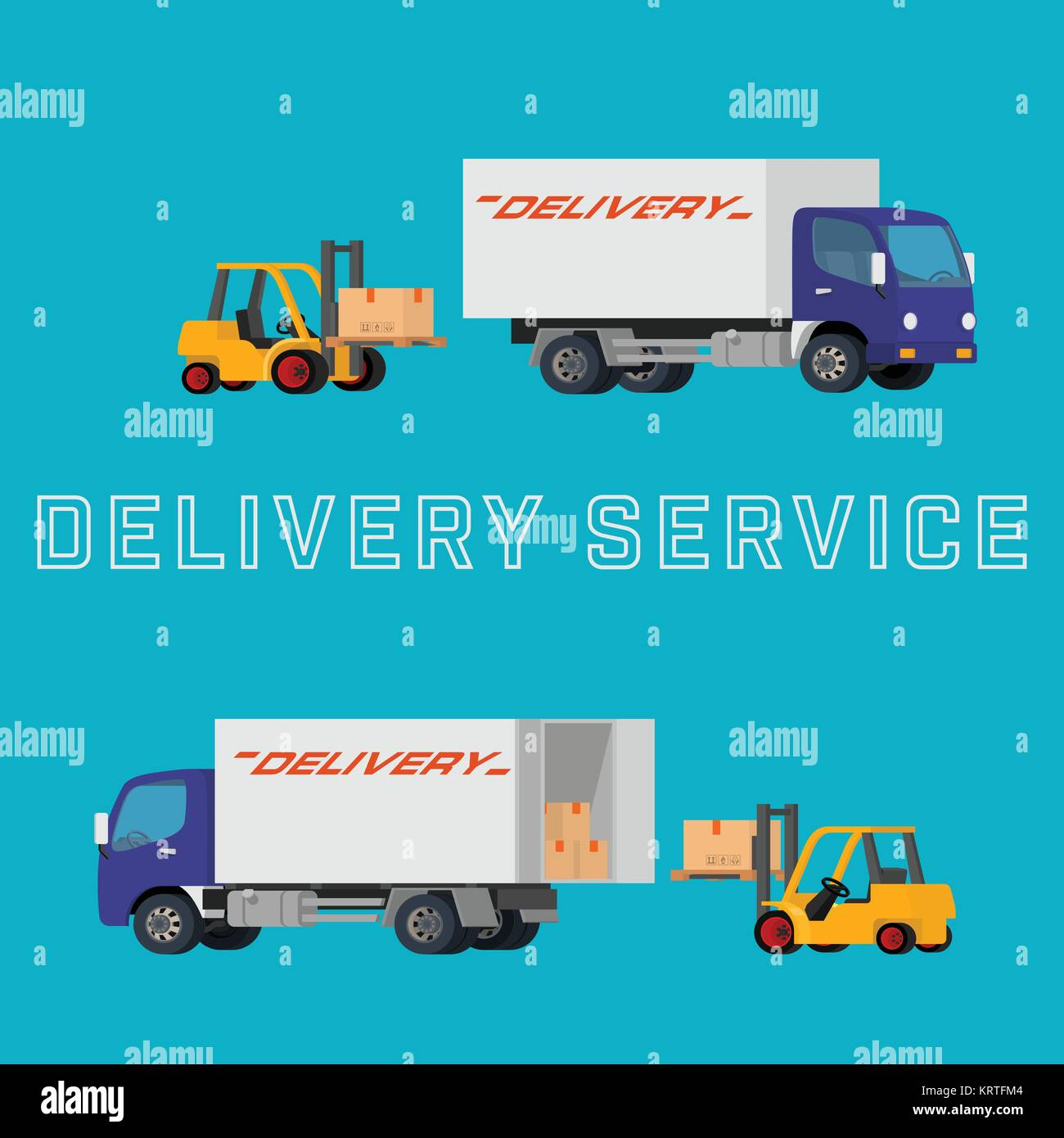 Flat concept illustration of delivery truck with forklift loading pallet with box into the car. Concept logistics - Stock Image