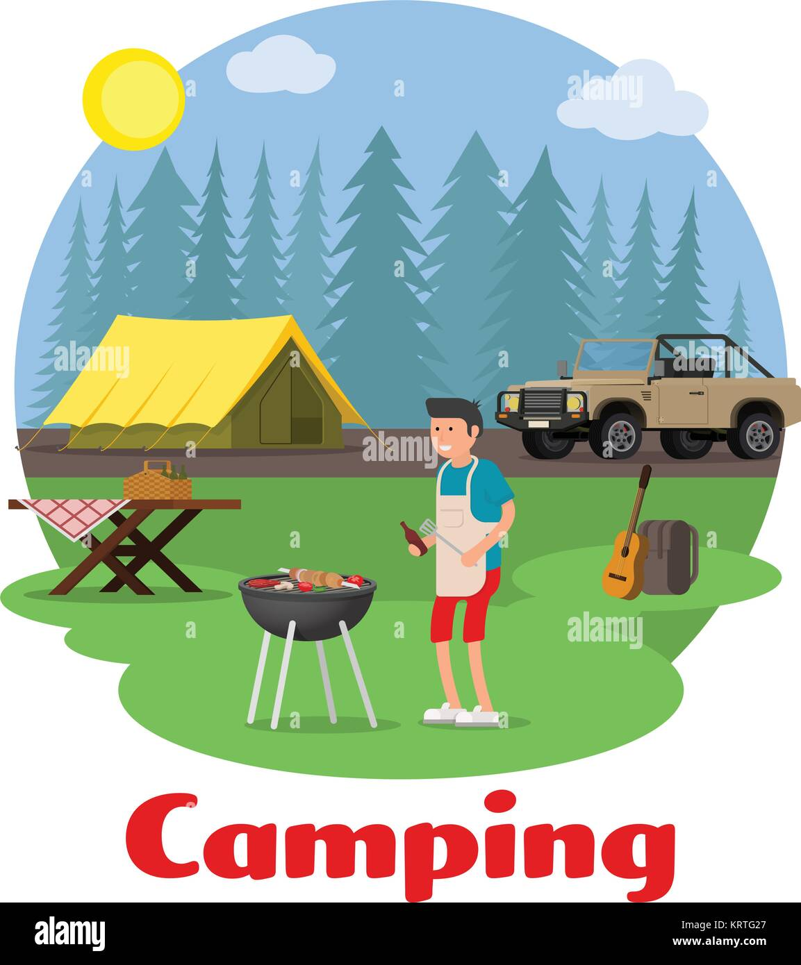Camping and outdoor recreation concept. Man of cooking meat with a grill on a forest glade. Forest camp with a tent - Stock Vector