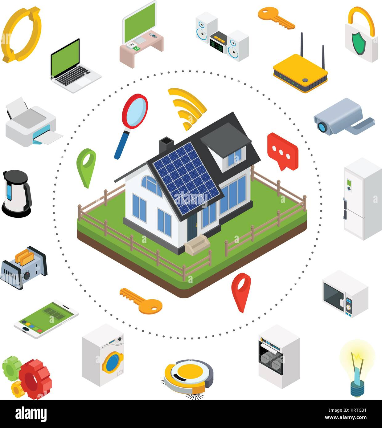 Smart home. Isometric design style vector illustration concept of ...