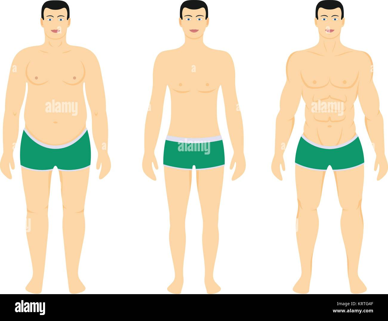 Before and After diet - Man weight loss. Vector illustration - Stock Vector
