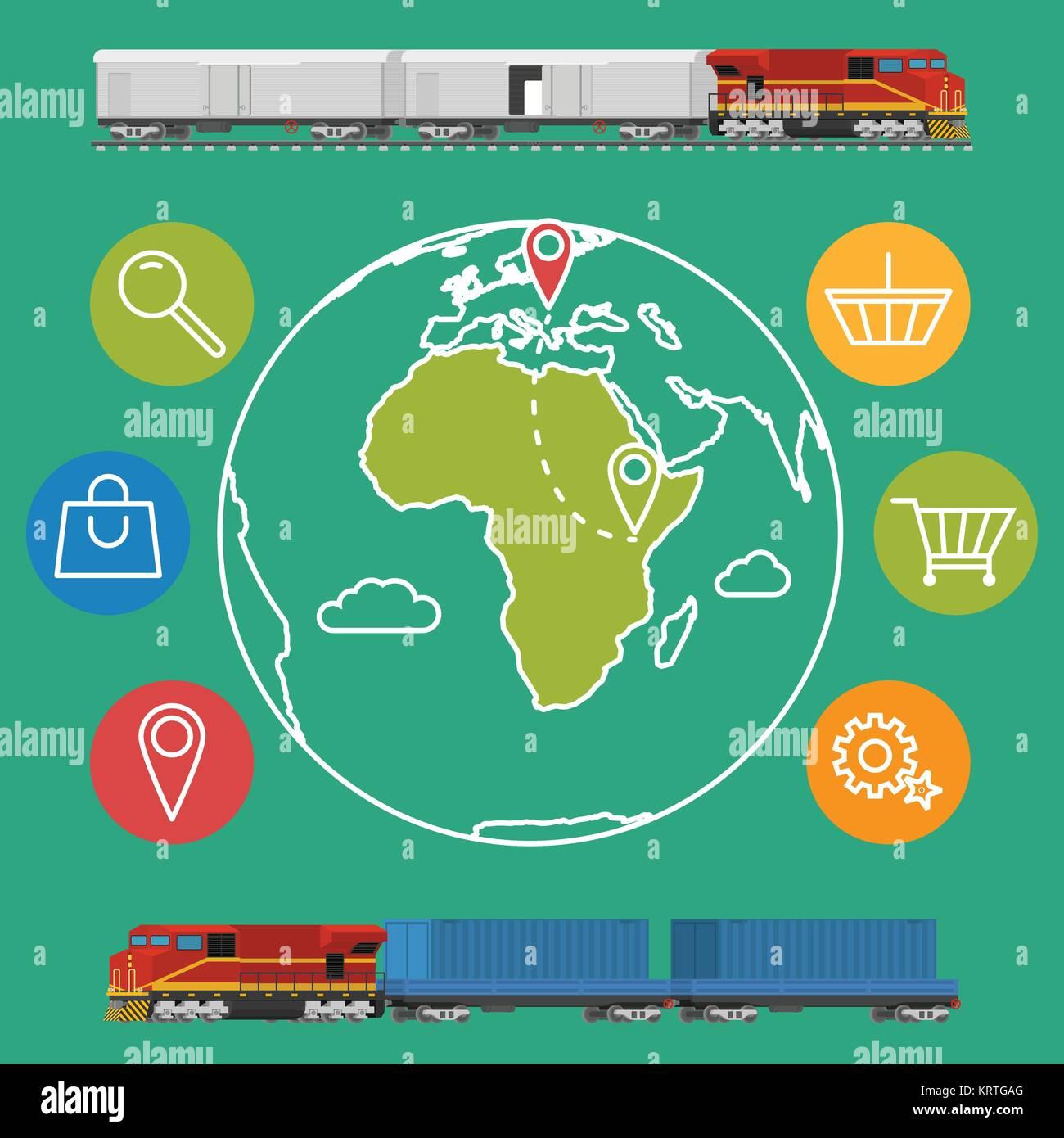 Container Flat Wagon Transport Rail Stock Photos