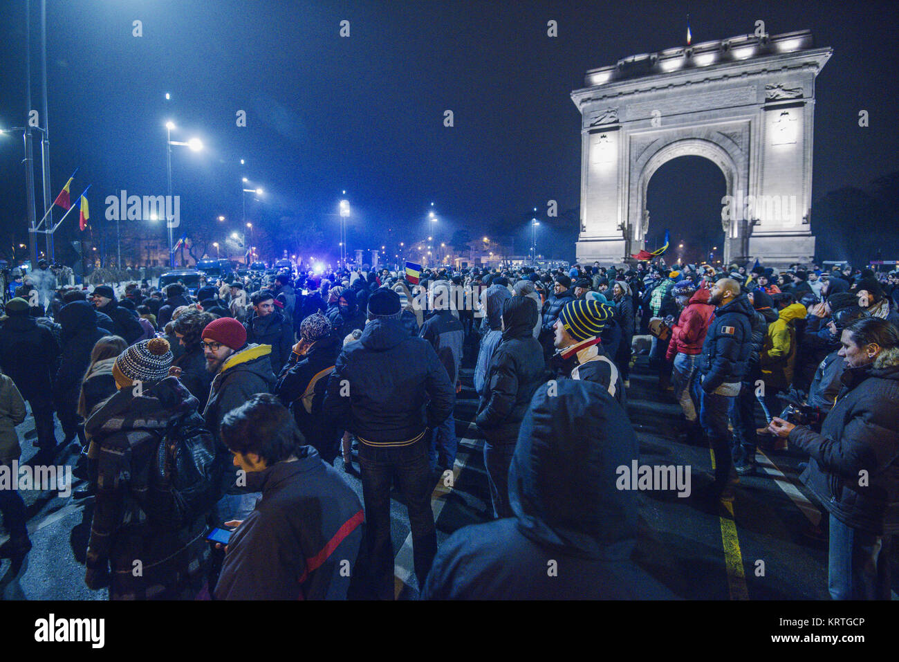 Bucharest protest against the government - Stock Image