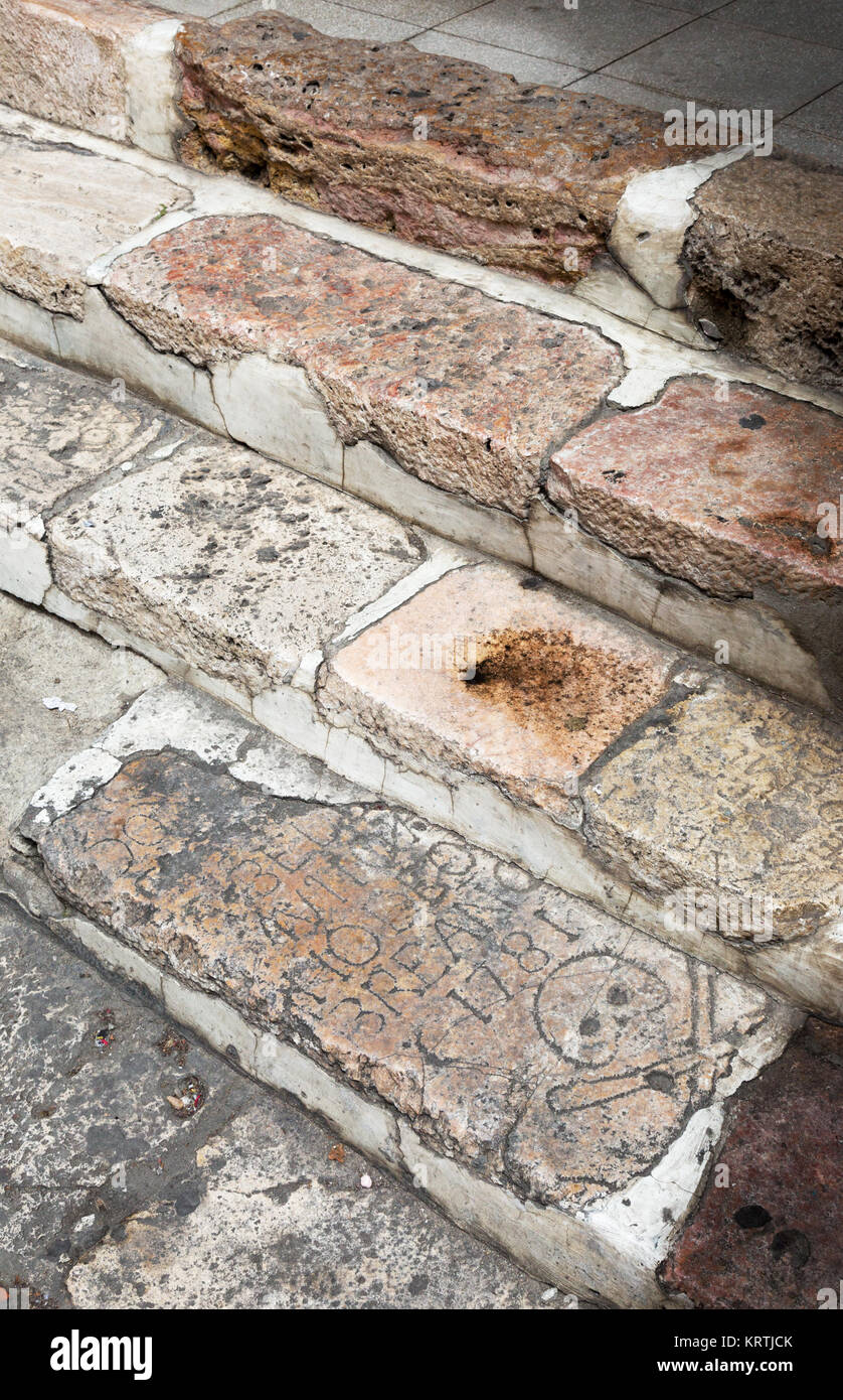Example of gravestones being used to build steps, Cuenca, Ecuador South America - Stock Image