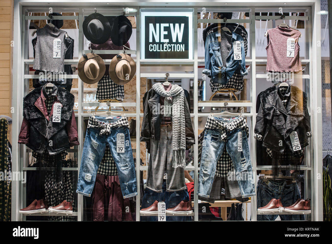 7a2a65ad Milan, Italy - November 10, 2016: Urban clothing in a store in Milan fashion  district.
