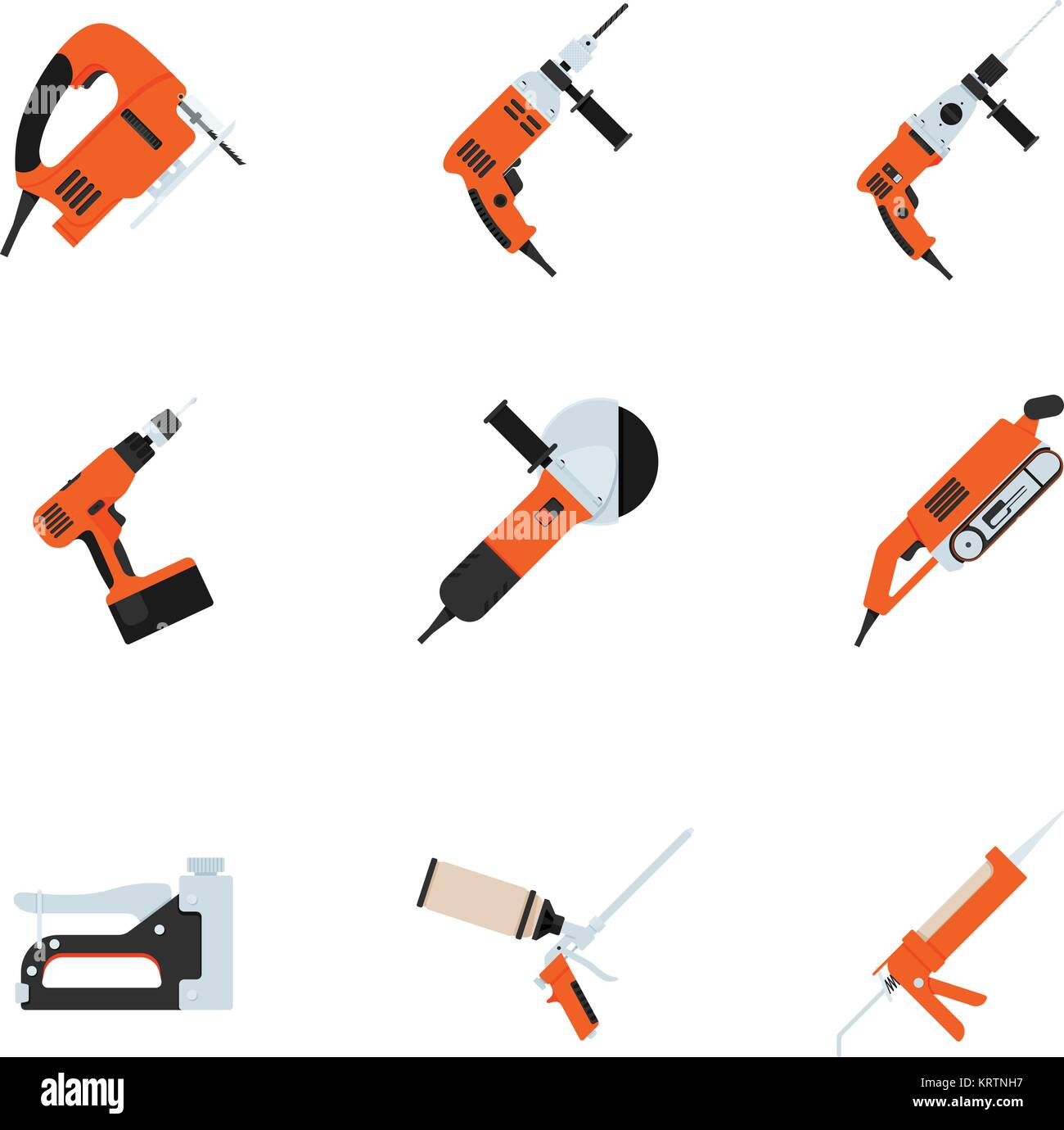 Set of building electrotools for repair  Vector illustration