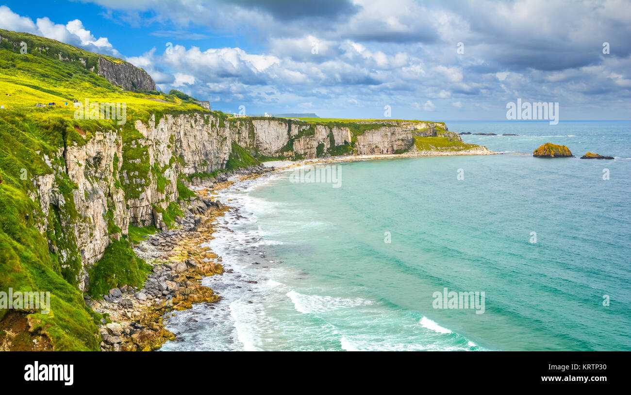 Scenic panorama near Carrick-a-Rede Rope Bridge, near Ballintoy in County Antrim, Northern Ireland. - Stock Image