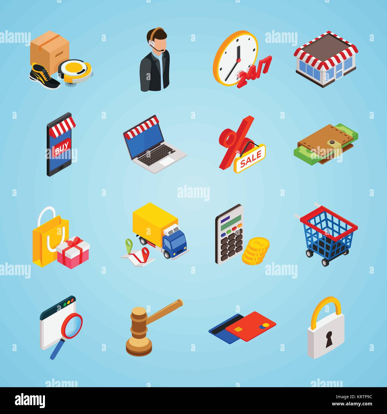 Electronic Commerce Isometric Icon Set With Gadgets For Buying On