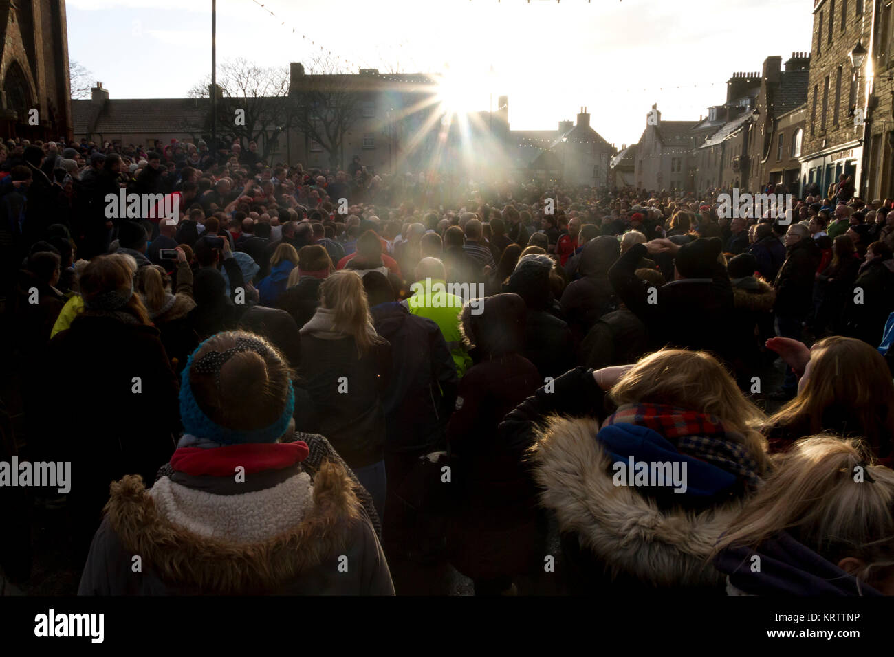 Crowds watching the Ba game in Kirkwall, Orkney isles - Stock Image