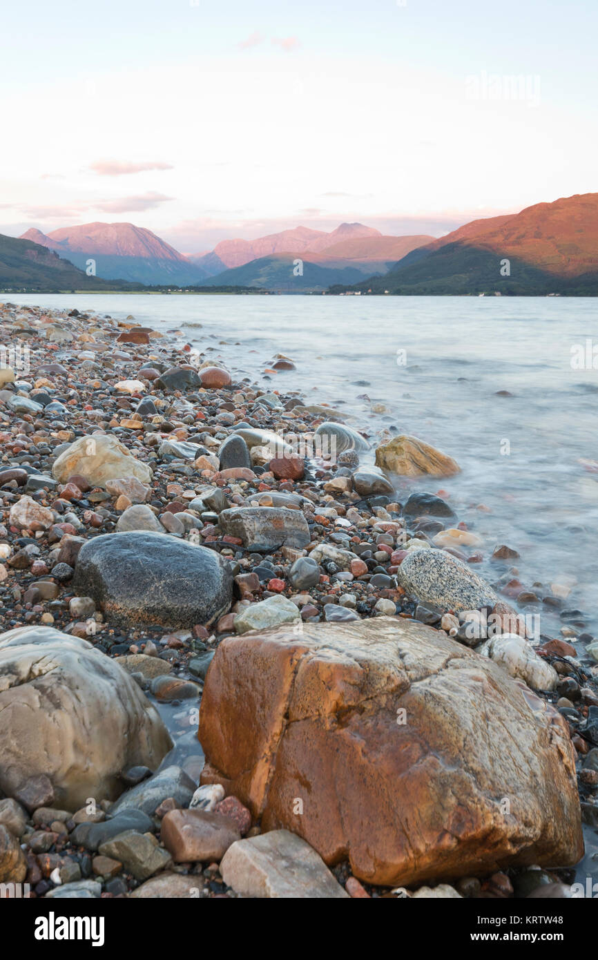 Loch Leven and Glencoe Mountains, West Highlands - Stock Image