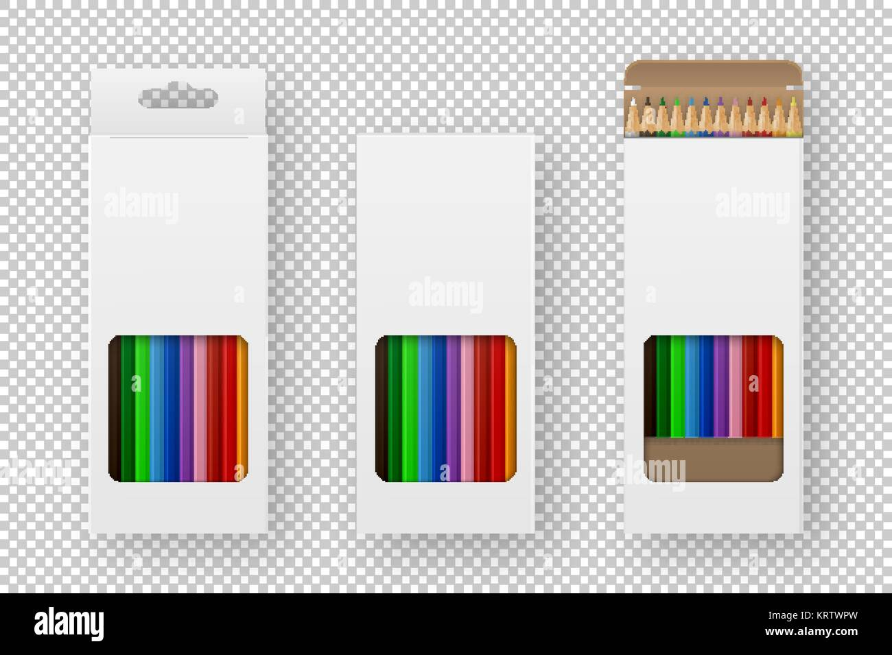 vector realistic box of colored pencils icon set closeup isolated on
