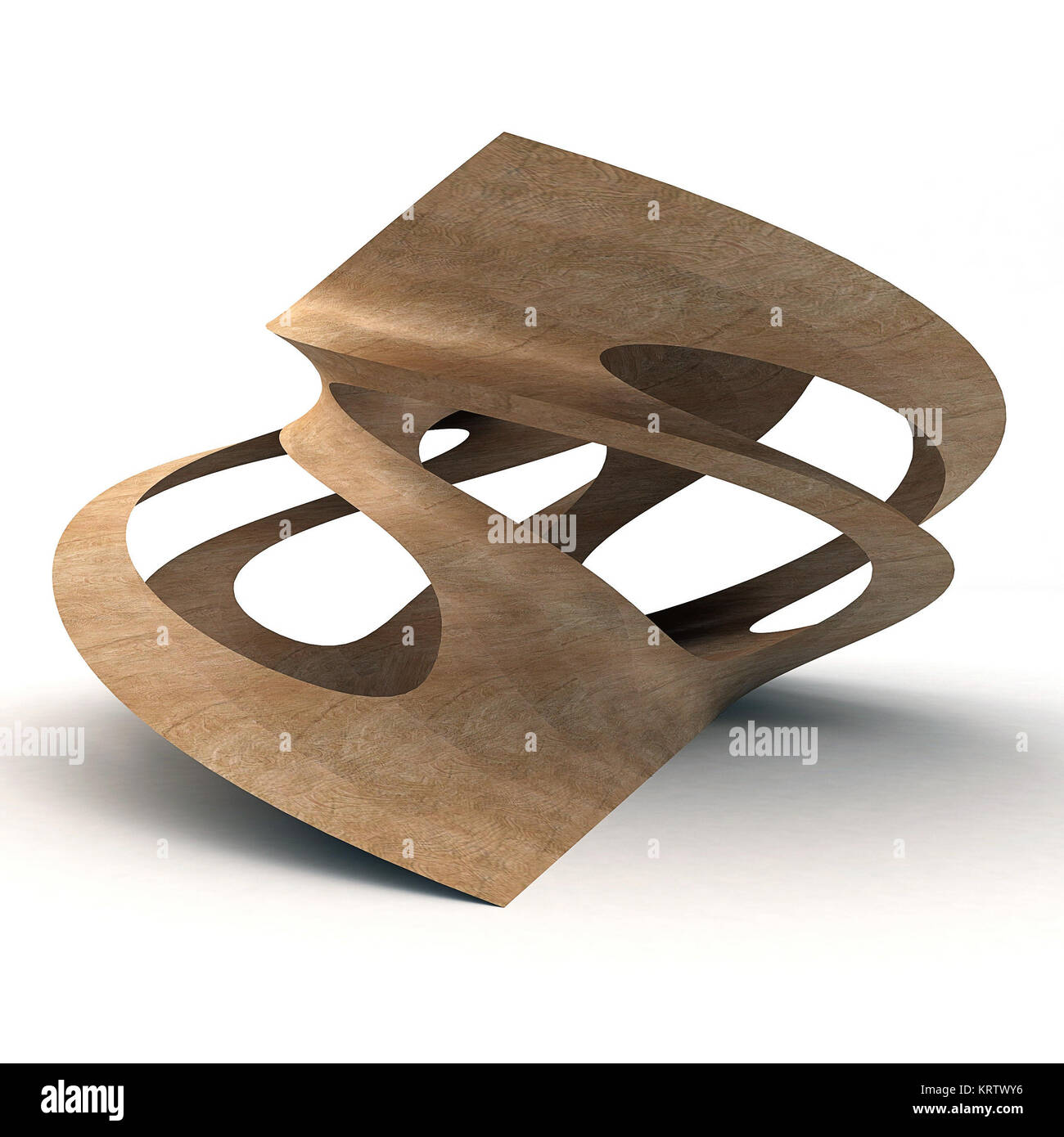 3D Illustration Of Twisted Wood - Stock Image
