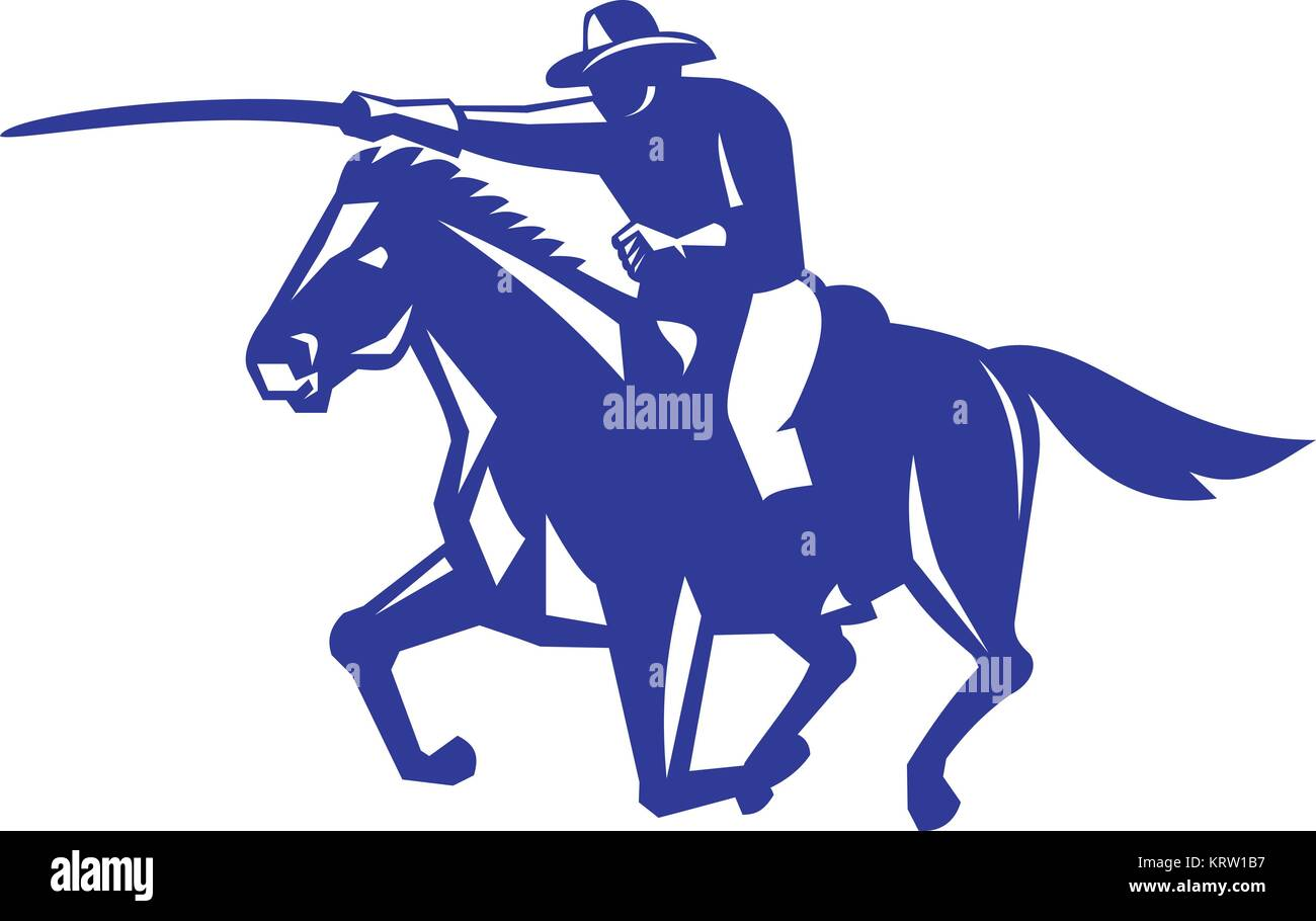 Retro style illustration of an American or United States  Cavalry riding on horse with sword Charging viewed from - Stock Vector