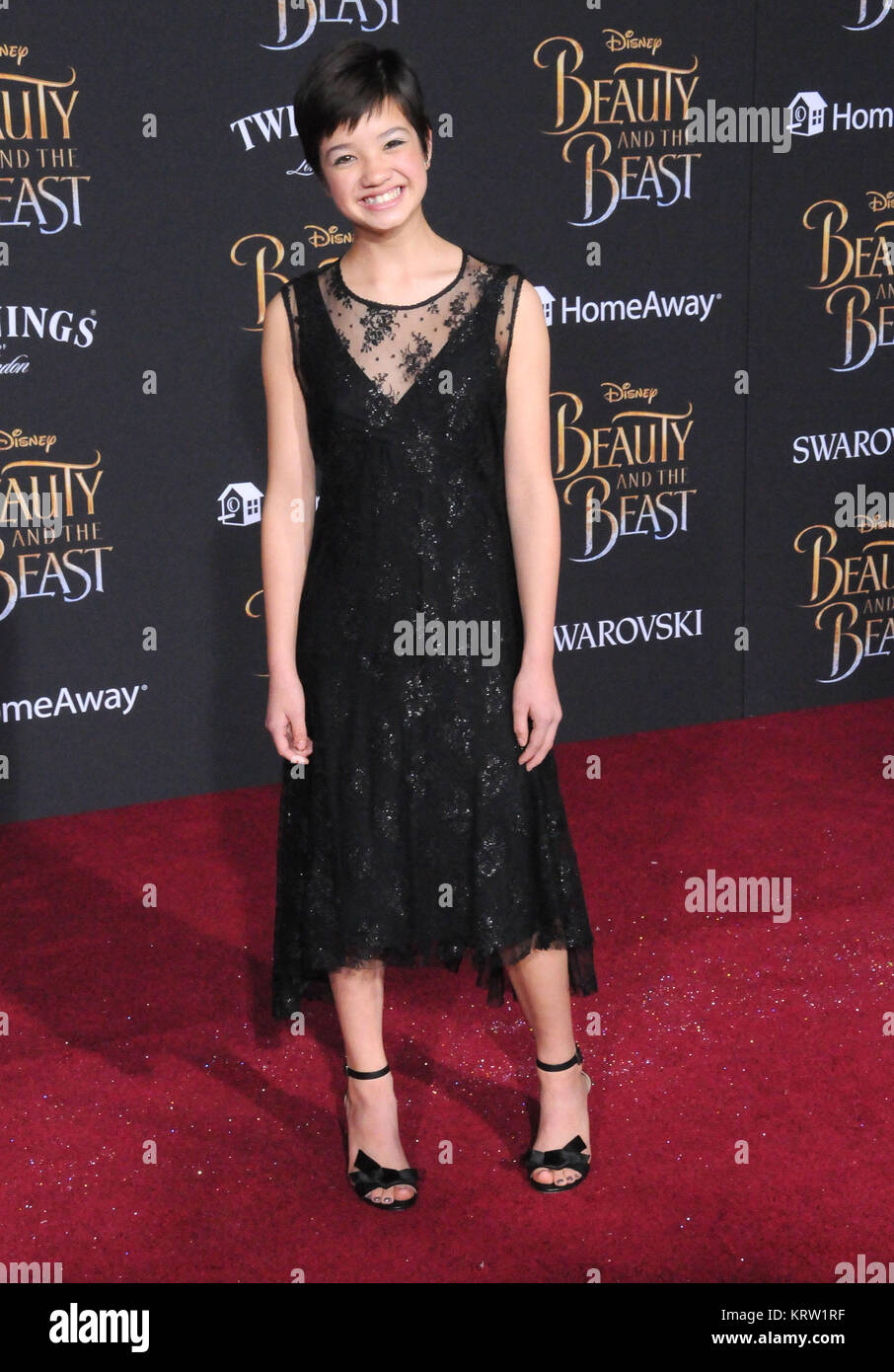 HOLLYWOOD, CA - MARCH 2:  Actress Peyton Elizabeth Lee attends Disney's 'Beauty And The Beast' World - Stock Image