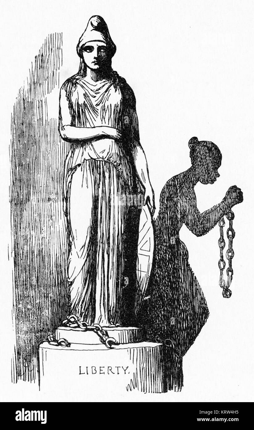 An engraving from Punch Magazine depicting The Shadow of English Liberty in America - slavery at the expense of - Stock Image