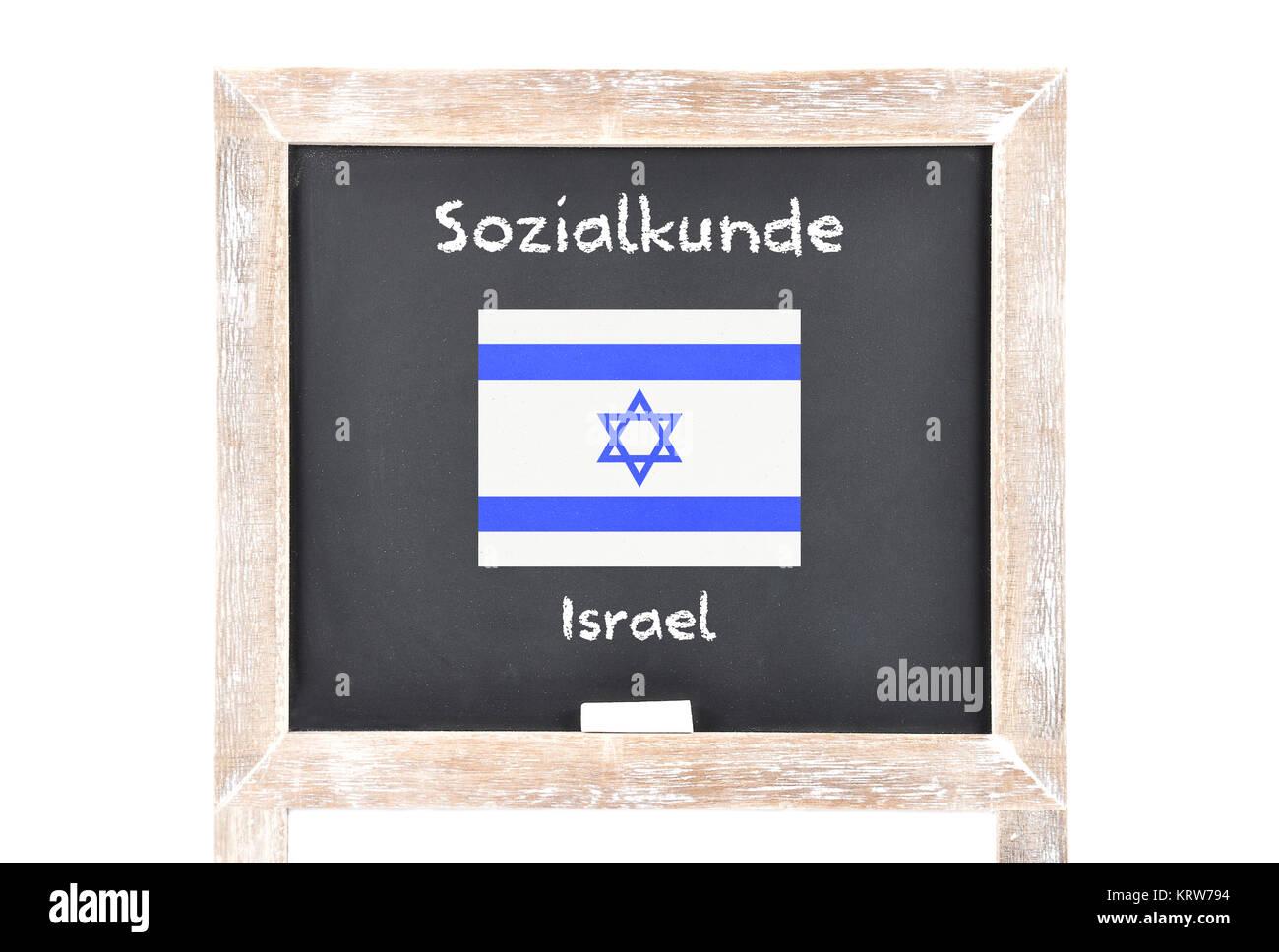 Sozialkunde mit Flagge auf Tafel - Stock Image