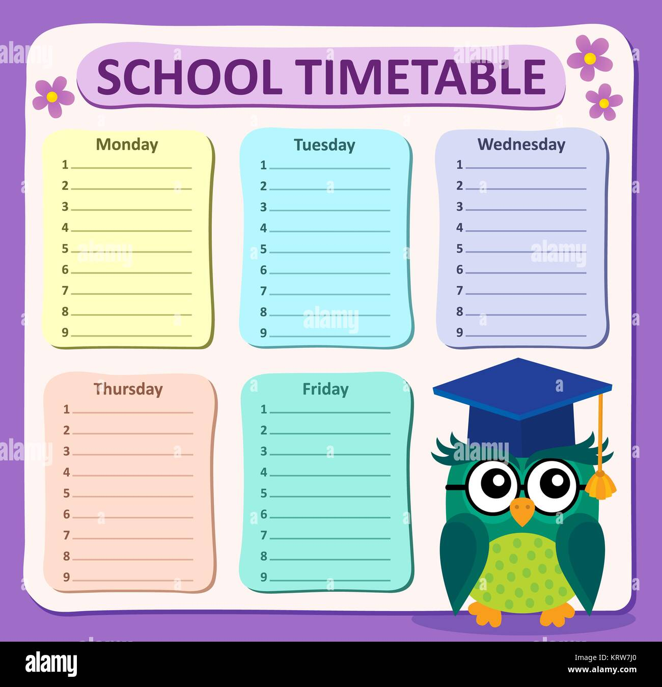 School Time Table Chart Stock Photos & School Time Table Chart Stock ...