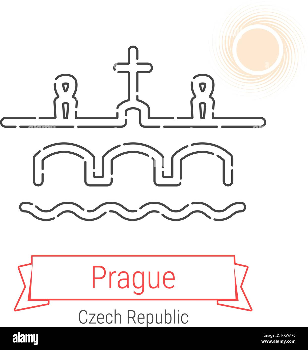 Prague, Czech Republic Vector Line Icon with Red Ribbon Isolated on White. Prague Landmark - Emblem - Print - Label - Stock Vector