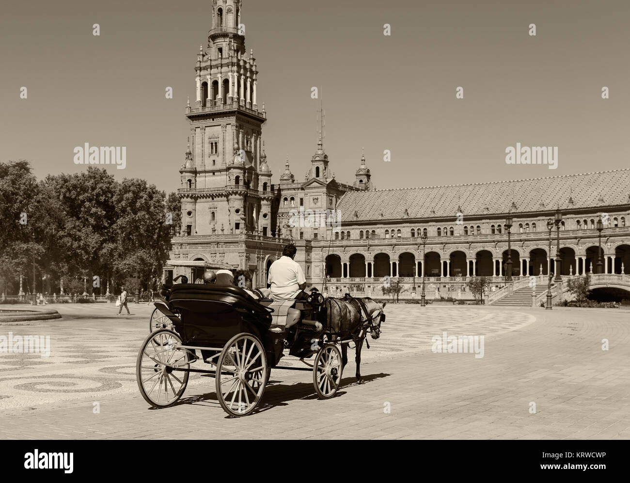 Urban Tourism. Carriage rides around the plaza of Spain in Seville. Spain. - Stock Image