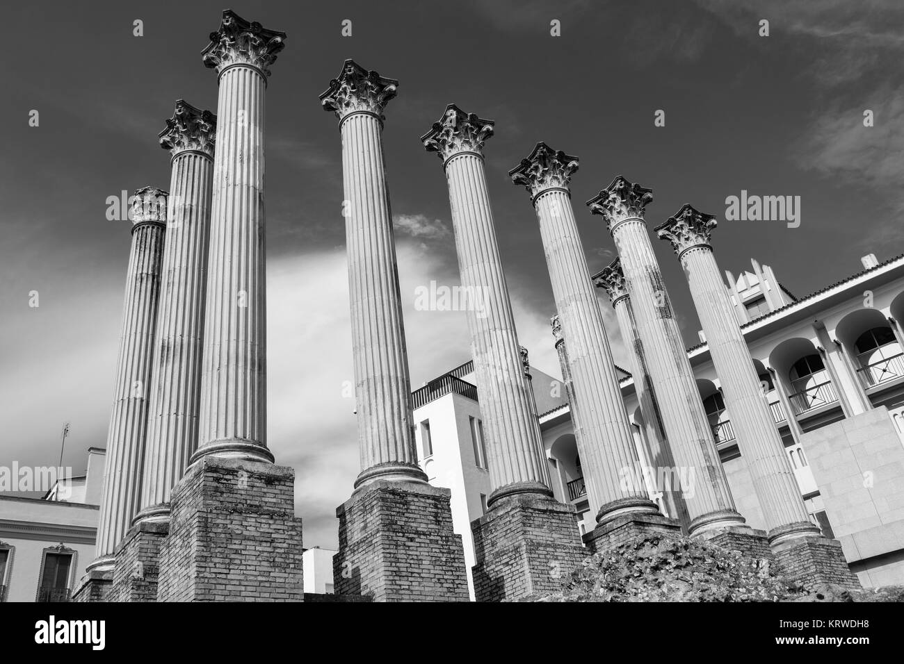Columns of the Roman Temple of Cordoba which was built in the first century after Christ. Discovered in 1950 during - Stock Image