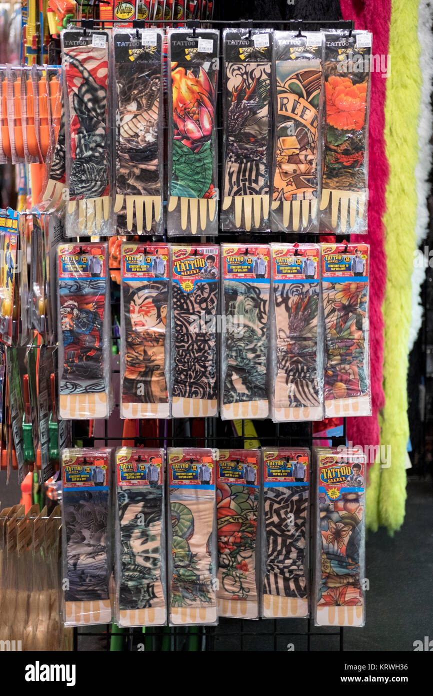23982e061 Fake Tattoo sleeves for sale at the Halloween Adventure, a costume store in  Greenwich Village, Manhattan, New York City.