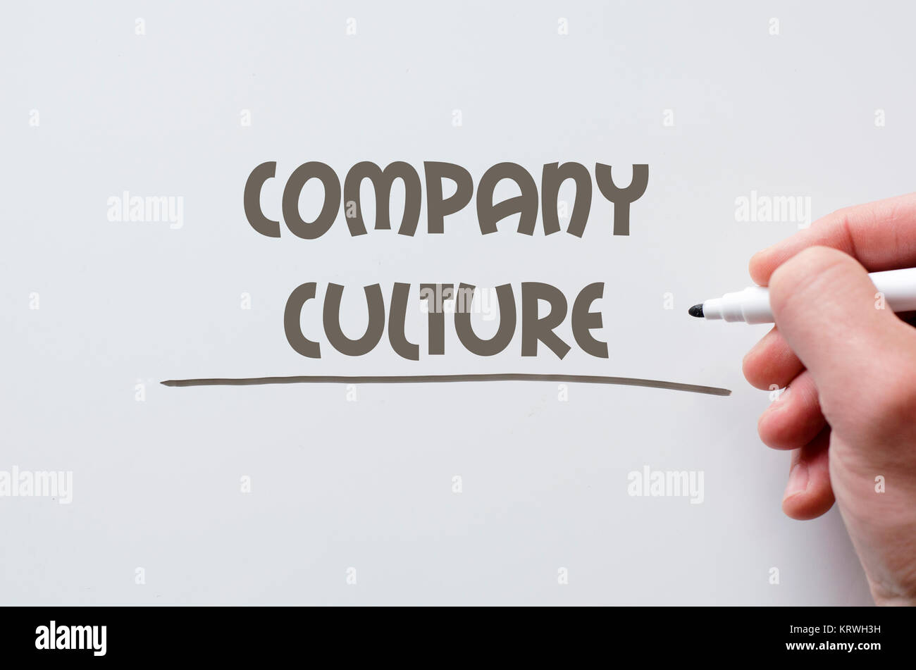 Company culture written on whiteboard - Stock Image