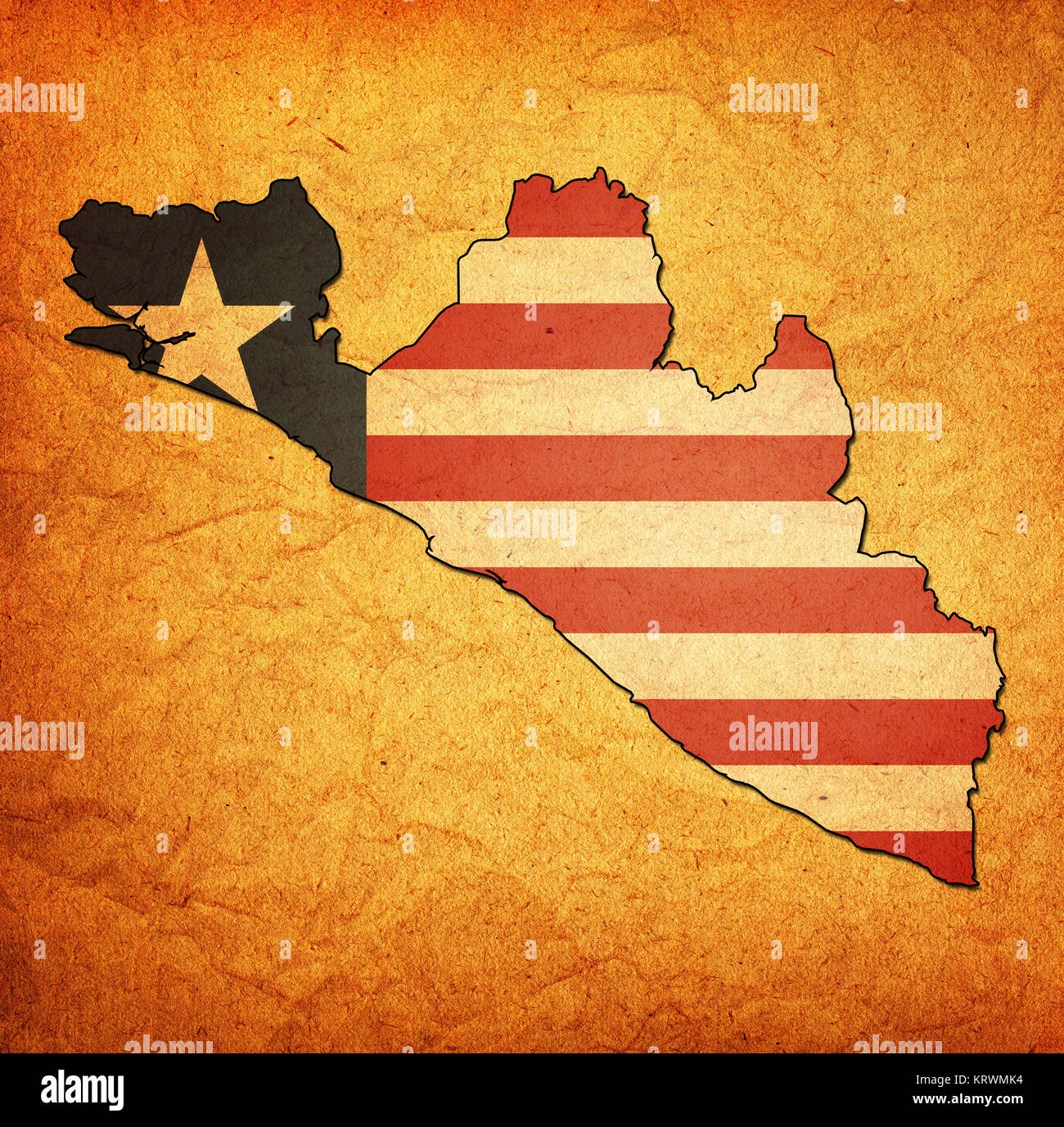liberia territory with flag - Stock Image