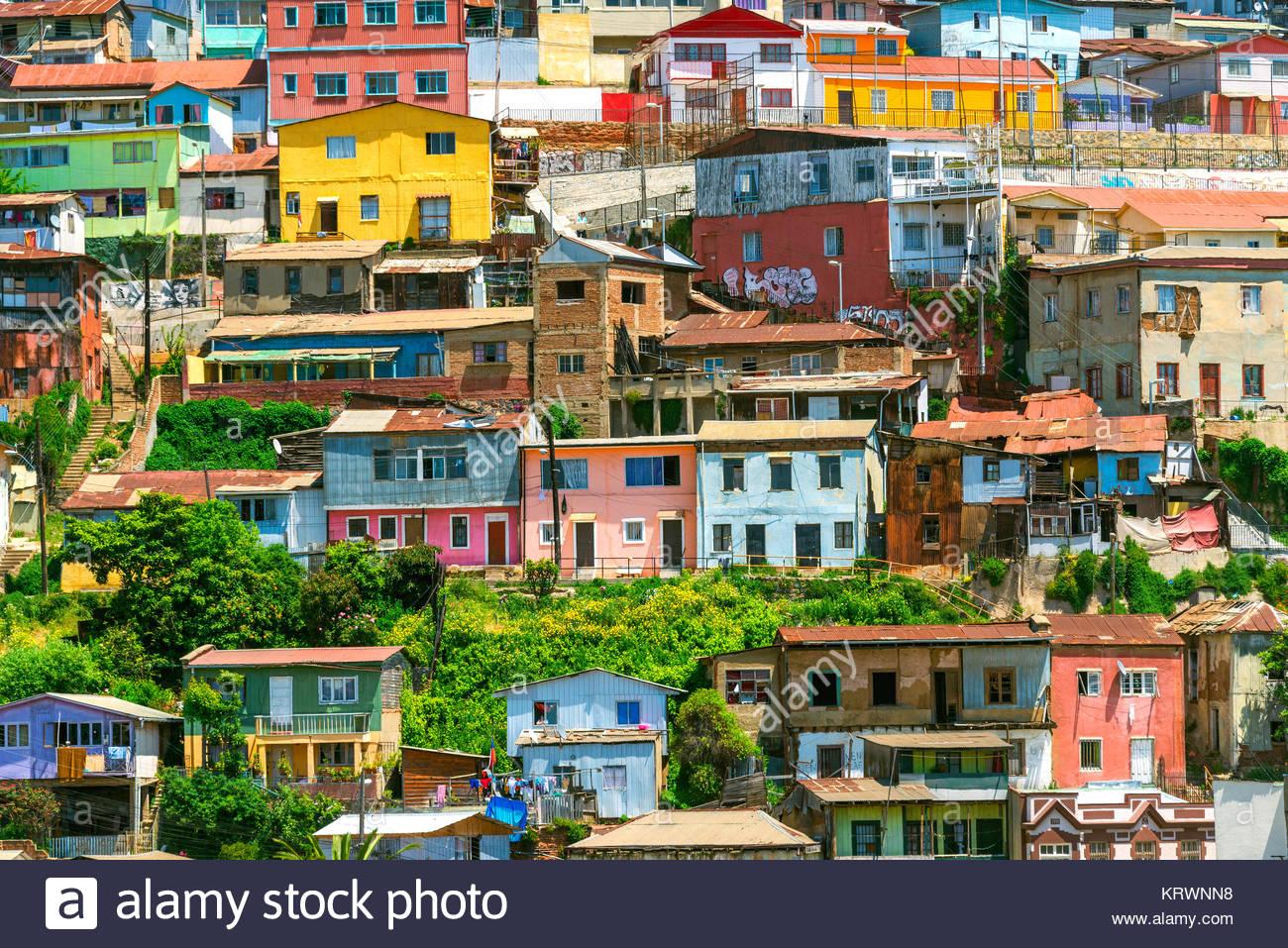 Colorful Houses of Valparaiso Stock Photo