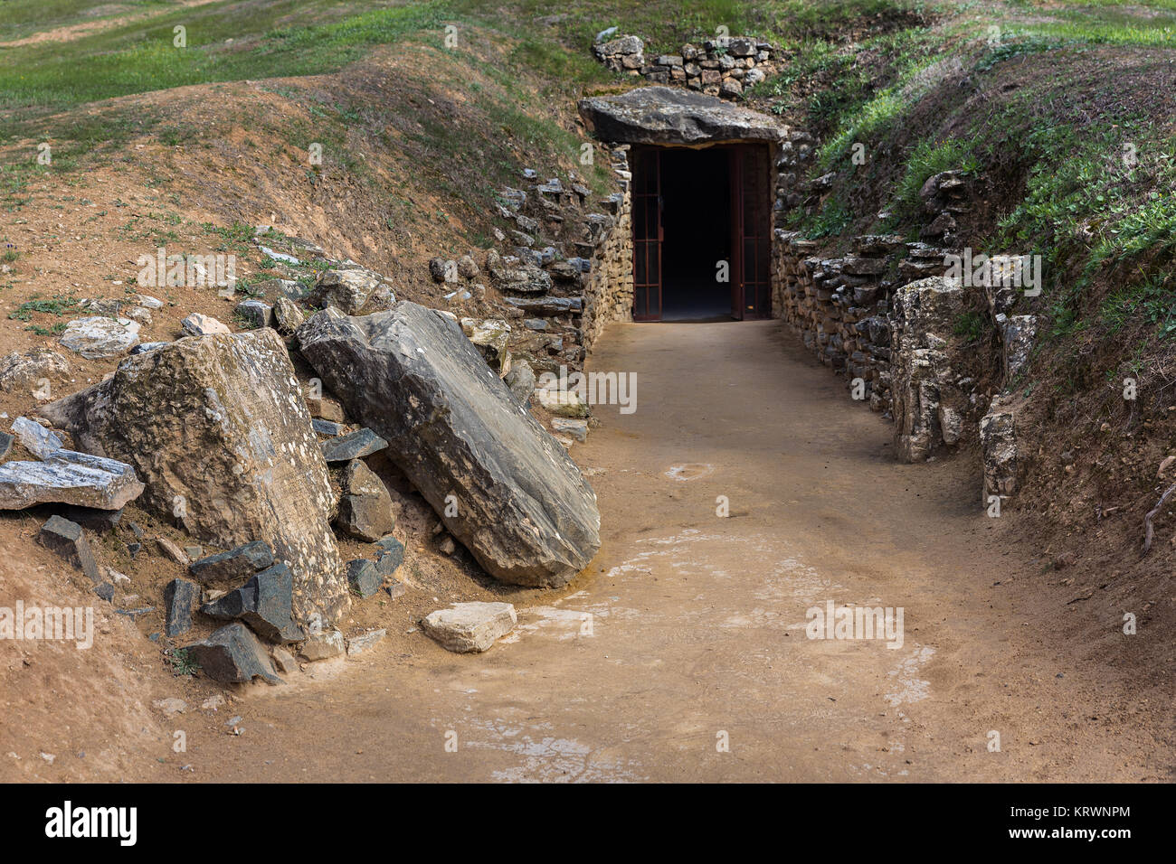 The Tholos de El Romeral is in the Spanish town of Antequera (Málaga).  This megalithic dolmen is dated from - Stock Image