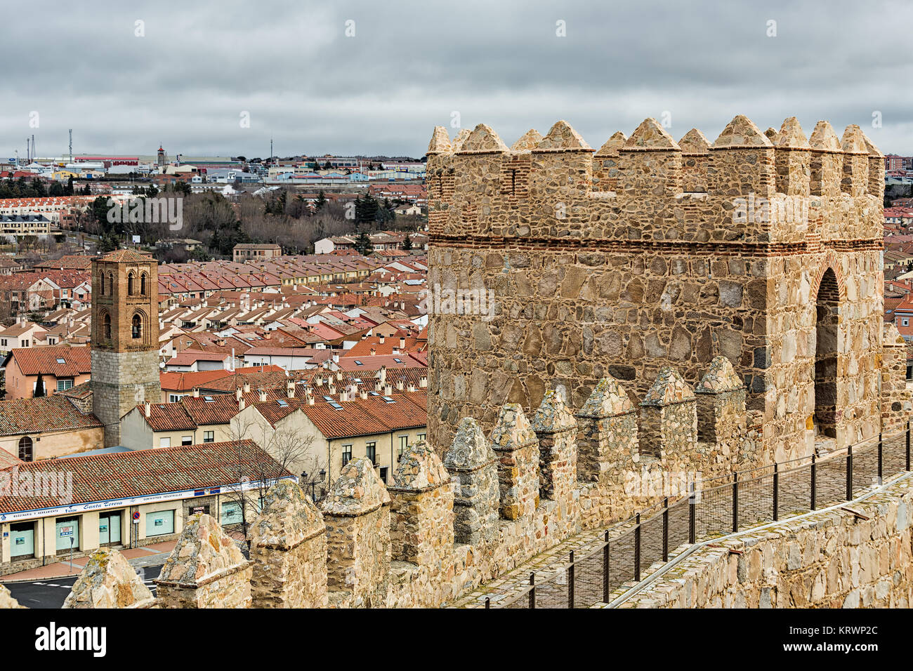 Detail of these famous walls in Avila. Spain - Stock Image