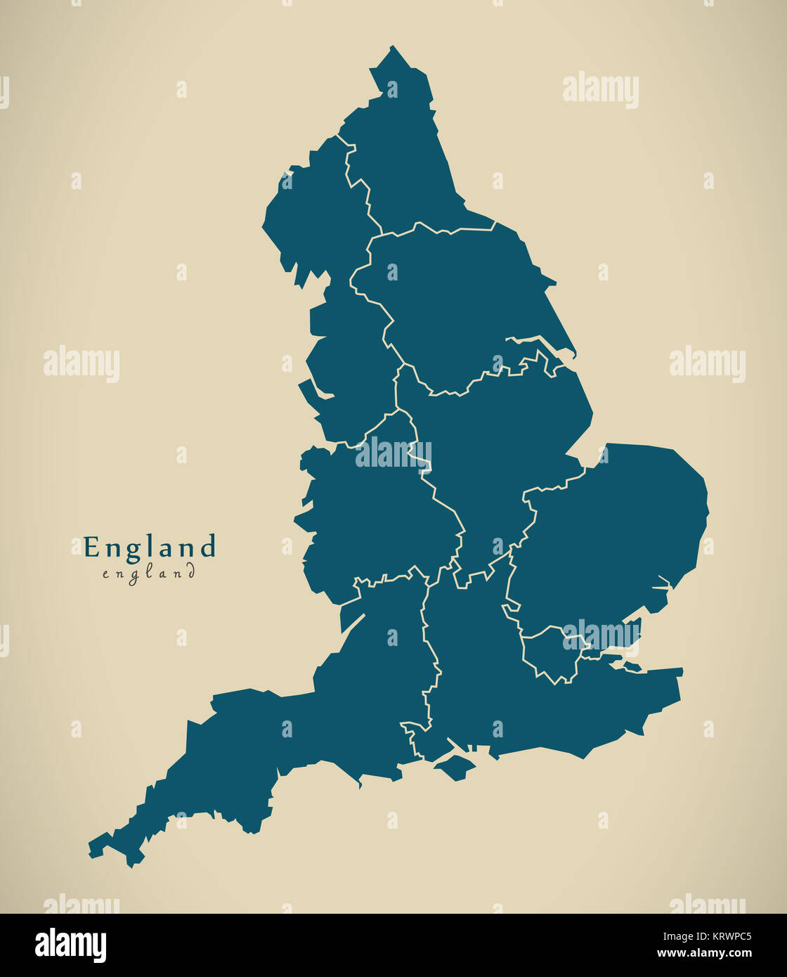 Map Of Counties England.Modern Map England With Counties Uk Illustration Stock Photo