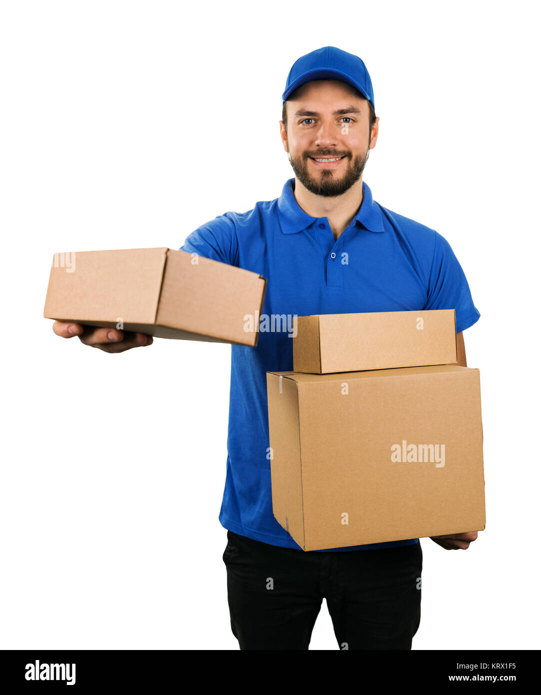 delivery courier giving cardboard shipping box. isolated on white background - Stock Image