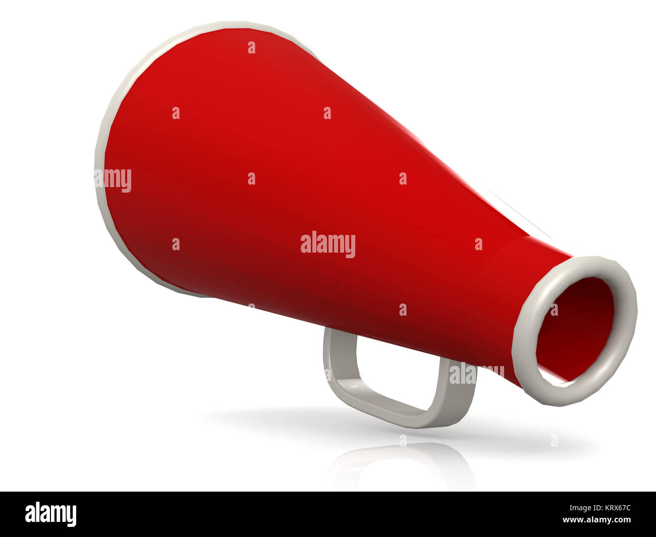 Isolated red megaphone on white - Stock Image